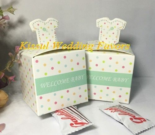 100Pcs Creative Baby Party Decoration Gift box of Welcome baby polka-dotted layette favor boxes and Baby Shower favor candy box