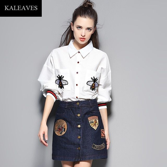Fashion Casual Bee Embroidery Runway 2 Piece Women Set Autumn Turn-Down Collar Single Breast White Shirt+Black Demin Skirt Suit