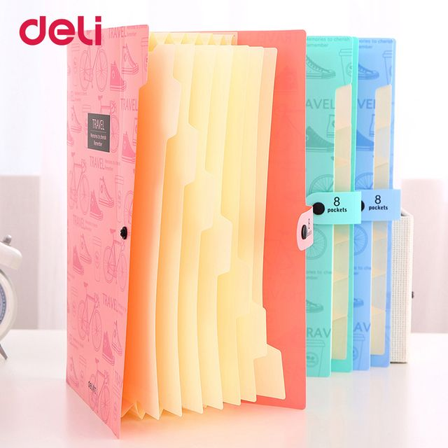 Deli Cute stationery File Folder A4 8 pocket waterproof Expanding Wallet Convenient Manage Holder Document expanding wallet