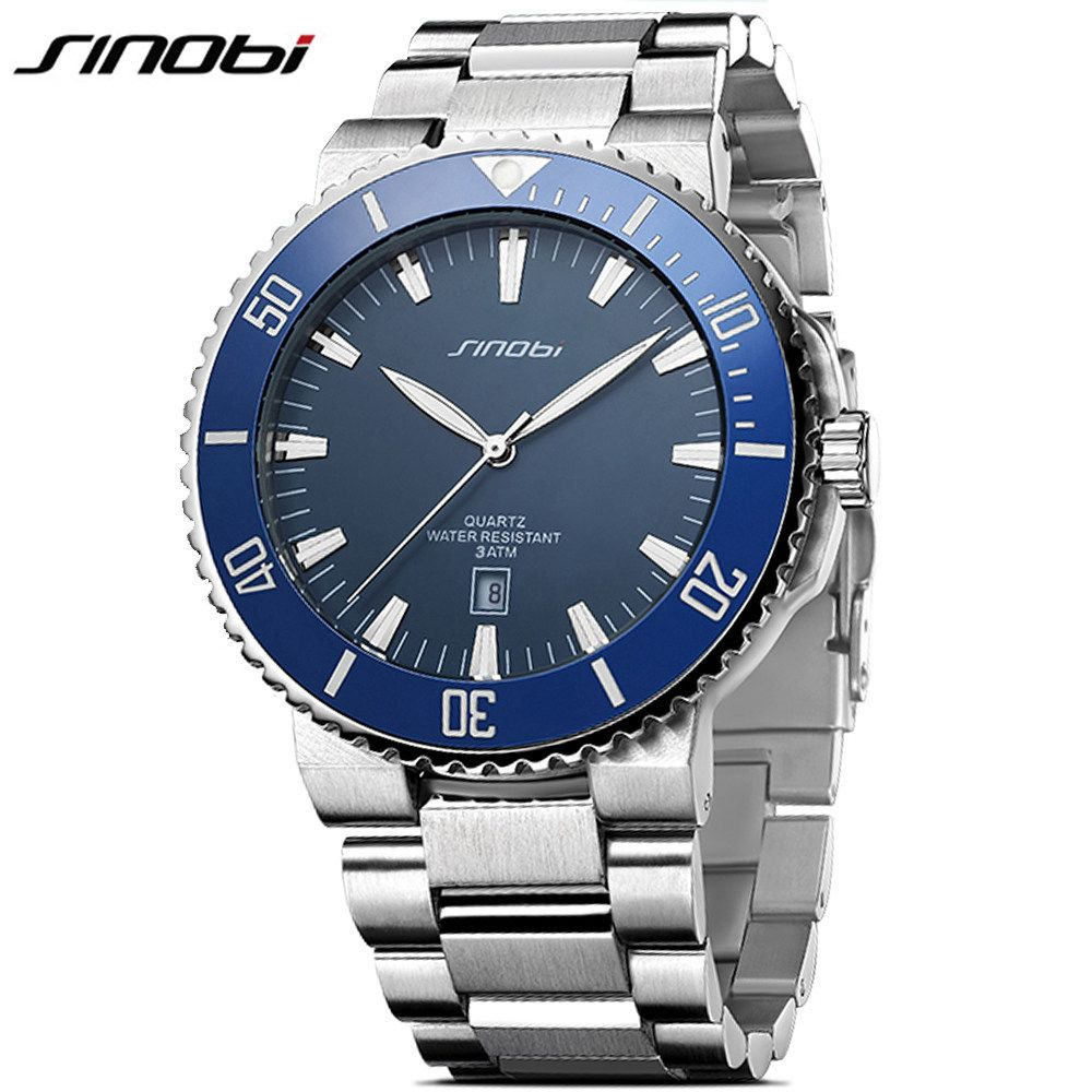 SINOBI Stainless Steel Men Watches Quartz Movement Luminous Hands Wrist Watch Band Top Brand Luxury Business Watch For Male