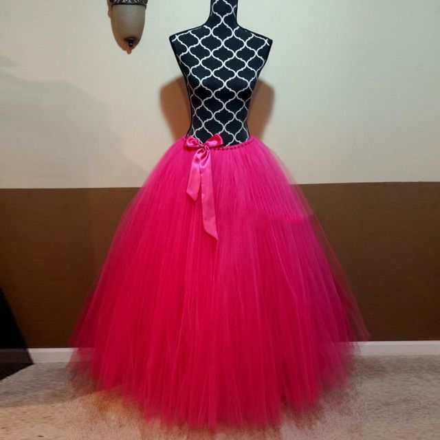 Hot Pink Long Tulle Skirts Womens High Waist Floor Length Ball Gown Maxi Tutu Skirt for Ladies to Formal Party Lolita Saia Jupe