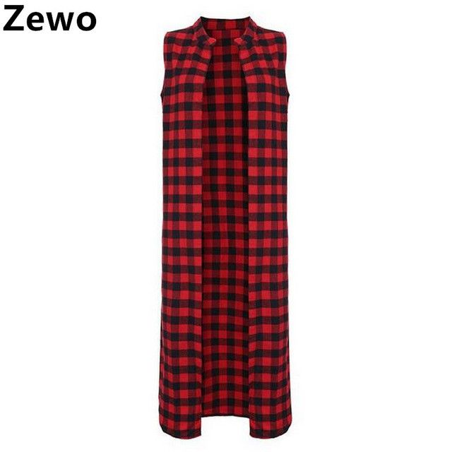 Zewo Summer Women Casual Loose Long Plaid Blouses Sleeveless Shirts Lapel Tops Cardigan Coat