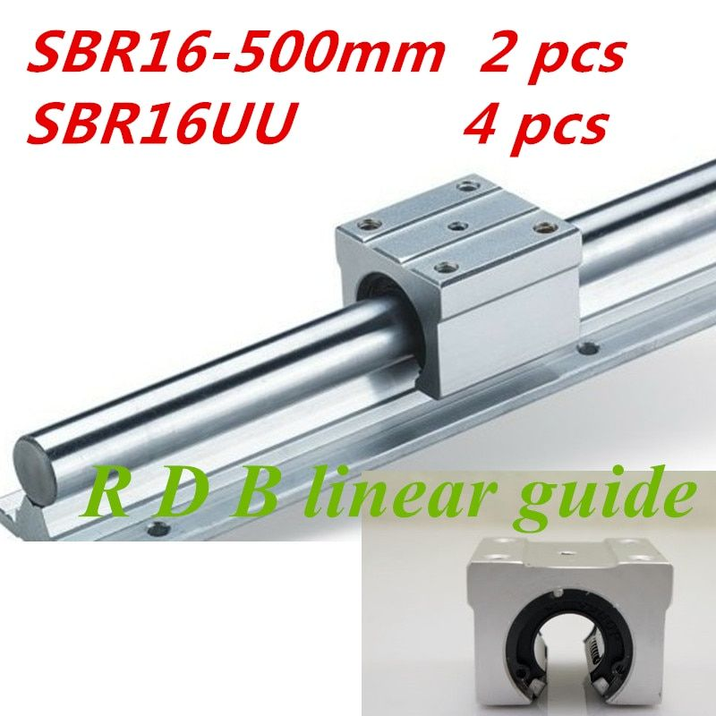 2 pcs SBR16  500mm 16mm linear rail and 4 pcs SBR16UU linear bearing block cnc parts cnc router sbr16 l 500mm