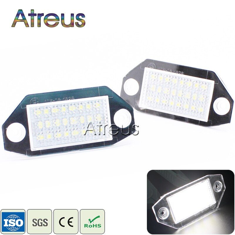 Atreus Car LED License Plate Lights 12V For Ford Mondeo MK3 4d 5D Accessories No Error White SMD LED Number Plate Lamp Bulb Kit