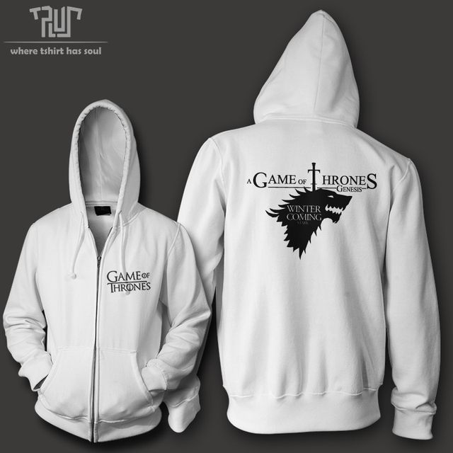 Winter is coming Game of thrones house of Stark men zip up hoodie heavy hooded sweatershirt cotton fleece combine free shipping