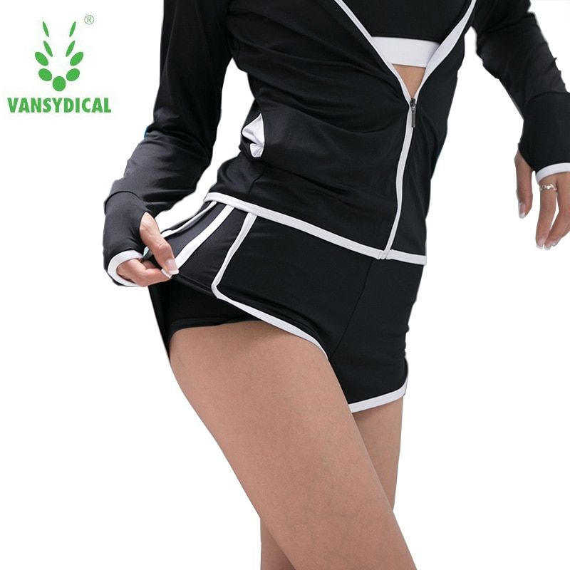 Hot Sale Vansydical Brand Sport quick dry Women black Cool Workout Bottom Femme Fitness Short Comfortable Running Shorts