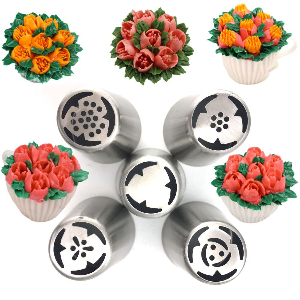5pcs/set Icing Piping Nozzles Set Pastry Tips for Fondant Cake Cupcake Rose Flower Decorating Tools DIY Bakeware G