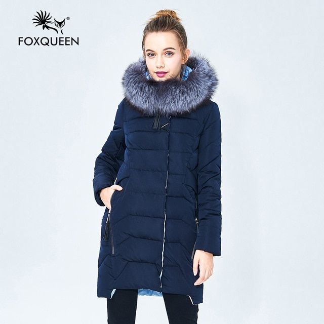 Foxqueen 2017 Warm Winter Fashion Women Thick Down Cotton Jacket Hooded Coat Parka With Silver Fox Fur Collar Free Shipping 620