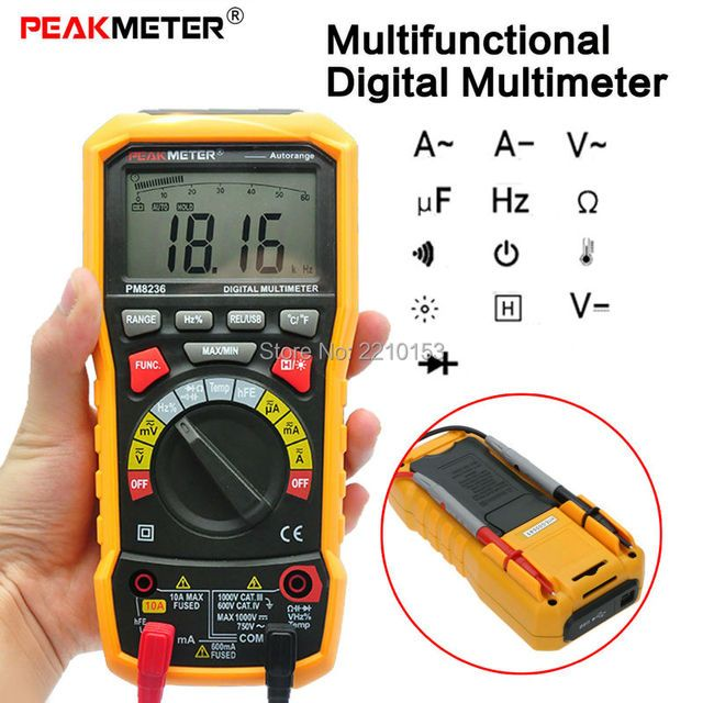 6000 Counts DC/AC Digital Multimeter Auto Range Capacitance Resistance Frequency Tester with Temperature Test MS8236