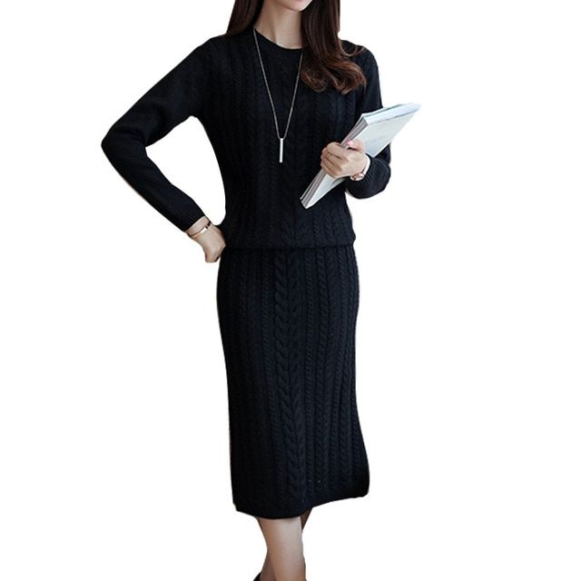 Fashion Women Autumn Knitted Dress Set Twist Knit Sleeve Pullover Sweater Long Split Pencil Skirt Female Winter 2 Piece Suit Set