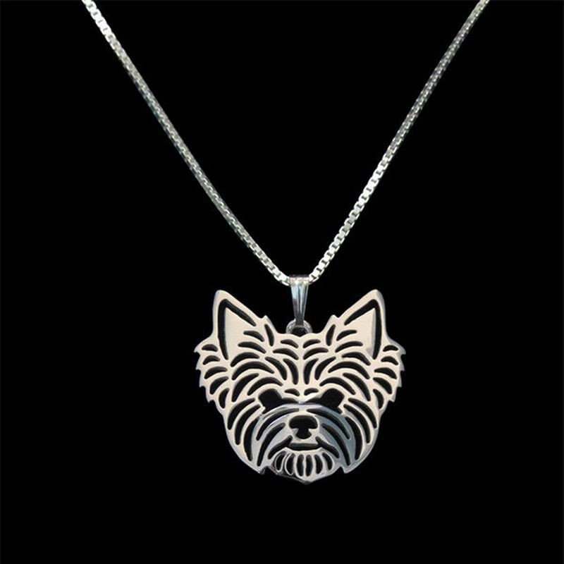 2019 Women's Silver Plated Yorkshire Terrier Pendant Necklaces Lovers' Alloy Dog Necklaces Drop Shipping