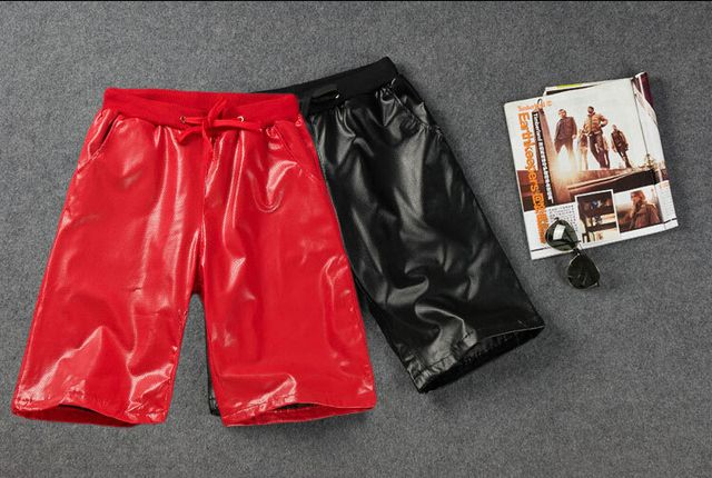 new Catwalk Fashion Mens Leather Shorts Red and Black Designer Snake Skin Faux Leather PU Short Joggers For Male
