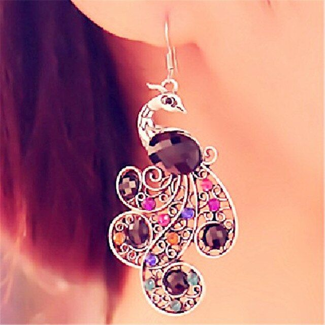 New Vintage Bijoux Bohemia Retro Personality Exaggerated Color Crystal Gem Peacock Stud Earrings Women Fine Jewelry Brincos B098