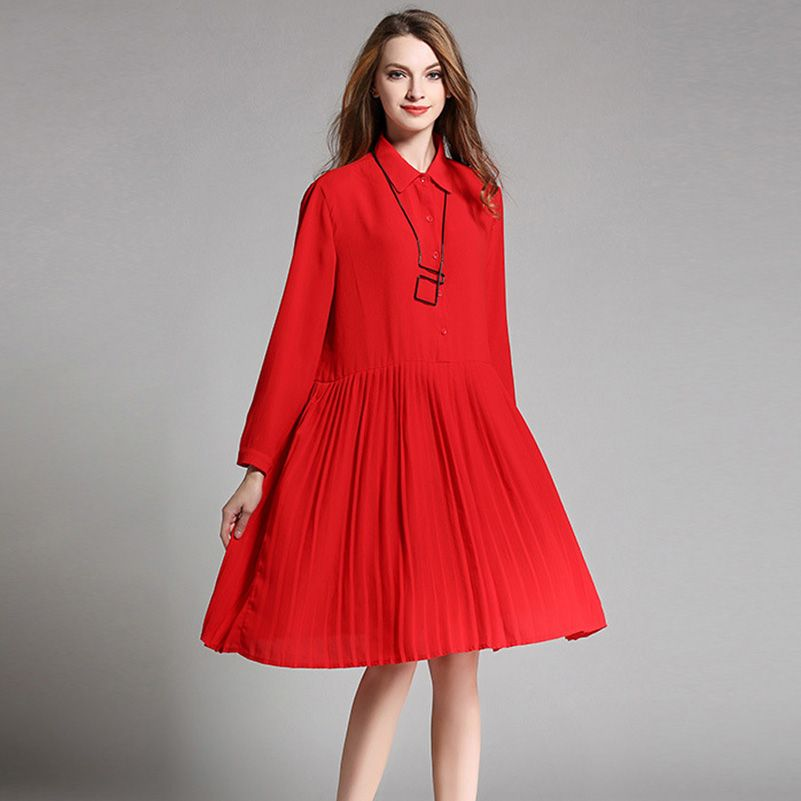 plus size pleated dress xxxxl women turn down colar long sleeve loose oversize dresses red black  spring autumn 1910LY