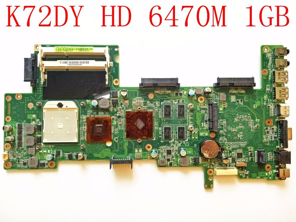 For ASUS K72DY Laptop Motherboard K72DY REV:2.0 DDR3 HD 6470M 1GB PN:60-N4TMB1000 Motherboard 100% Tested Perfect Working