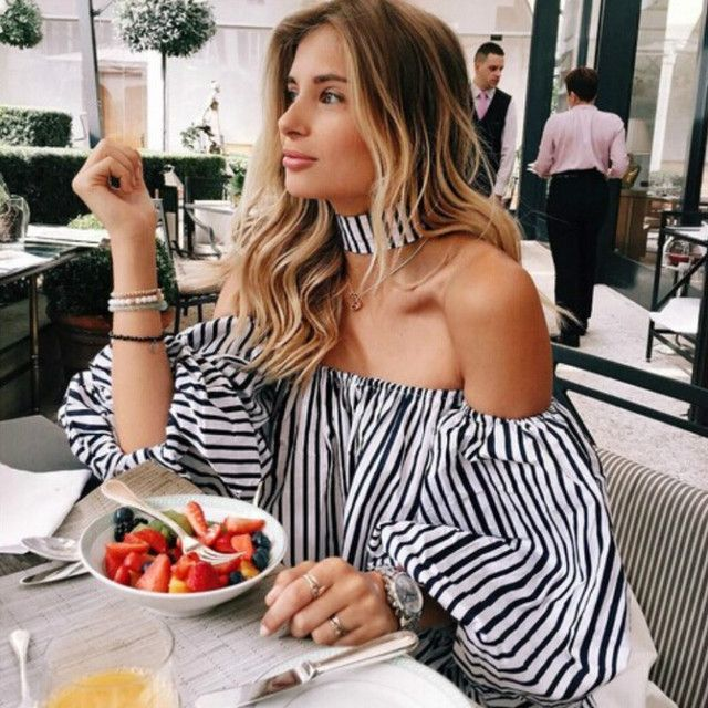 2017 Fashion Sexy Off Shoulder Blouse Women Striped Off Shoulder Tops Summer Latern Sleeve Choker Lady Blouses Shirts Crop Top