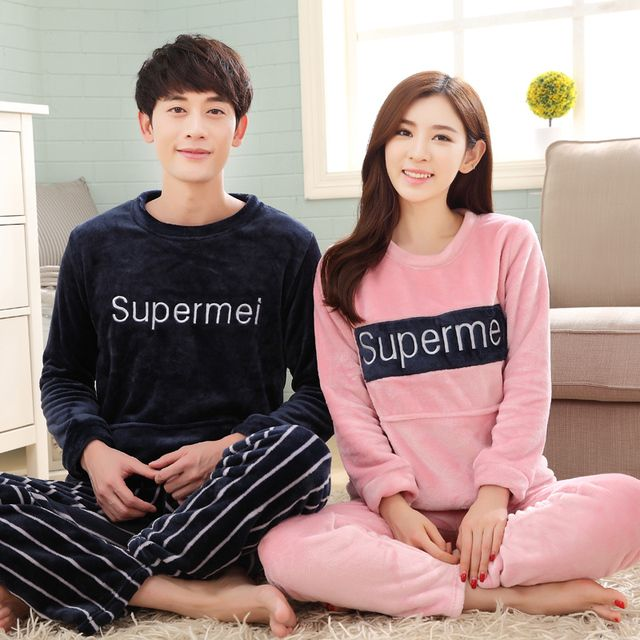 Brand Winter Women's Sleepwear Couples Pyjama Femme Pajamas Coral Fleece Letters Pajama Mujer Men Pajamas Sets Home Clothing