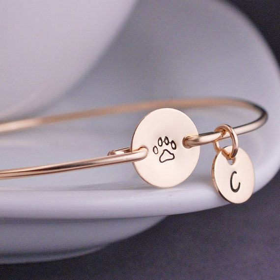 2018 Hot Gold and silver Paw Print Bracelet Hand Stamped Jewelry Spring Sterling Jewelry Free Shipping YPQ0543