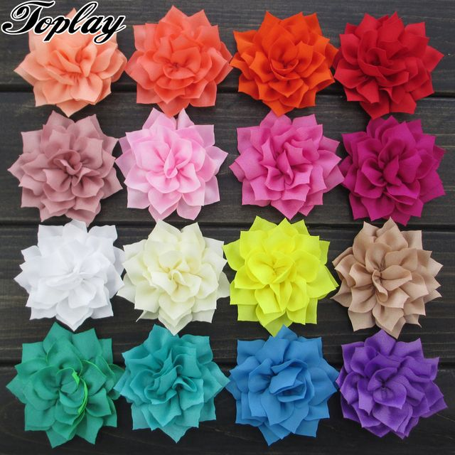 "Toplay 20pcs/lot 3""Poinsettia Fabric Flowers Winter Flower Decoration For  Girls/Teens Headband 20 Colors"