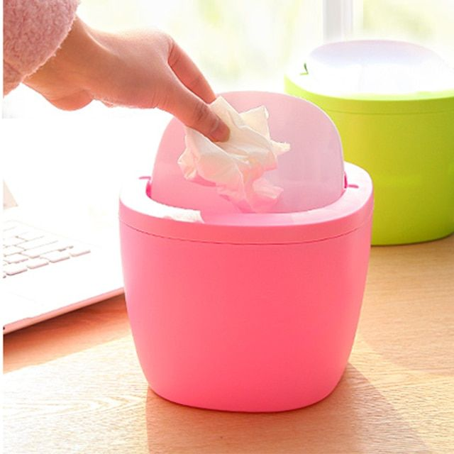 Removable type Mini Desktop swing top trash can Kitchen Bedroom Home Waste Garbage Bin