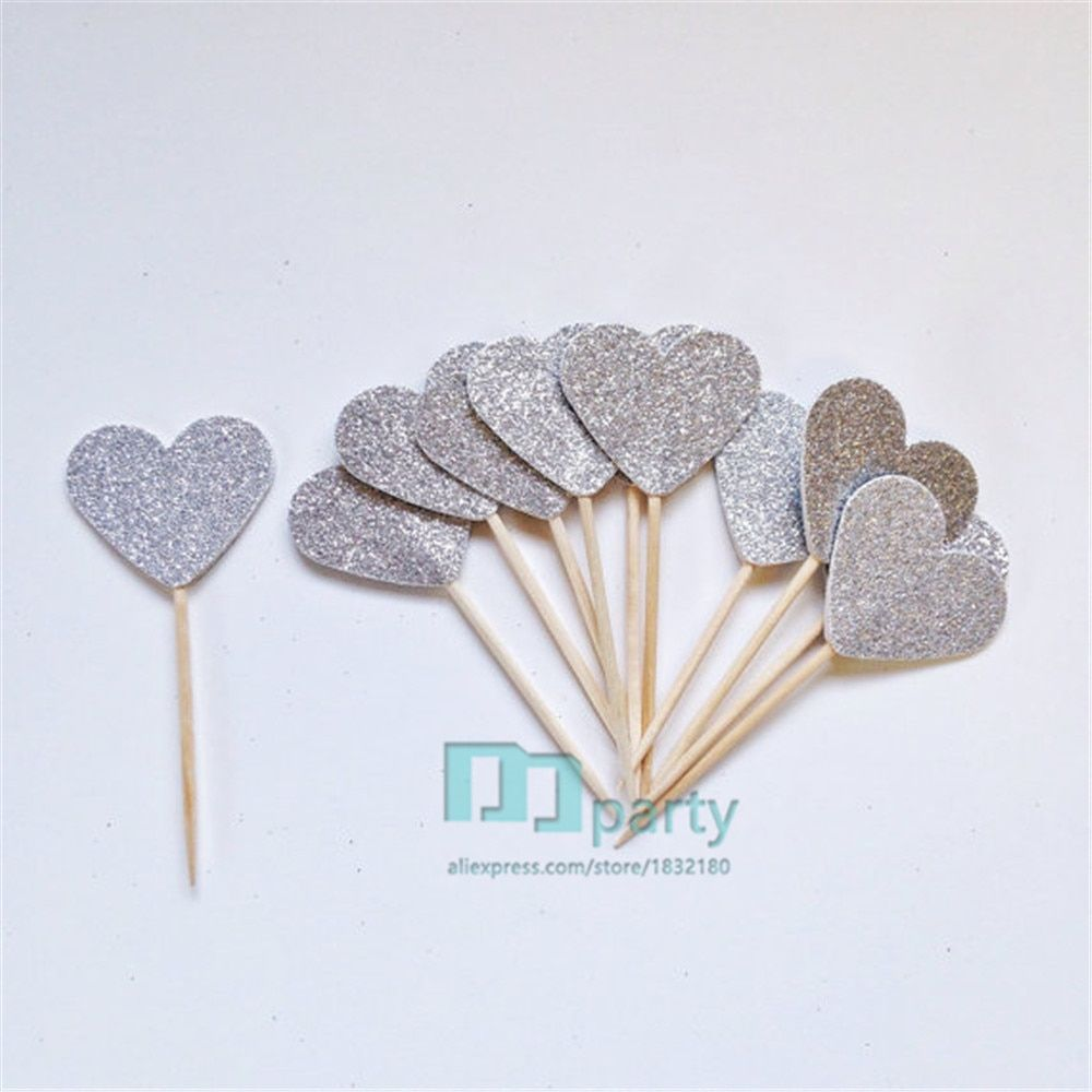 Custom Colour 100pcs Gold Silver Glitter Heart Cupcake Topper.  Cake Topper. Party Topper. Simple Sweet Toothpick Toppers