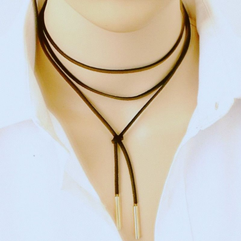 Elegant Fashion women Long Black Leather Rope Gold Tube False choker Collar Necklace 150cm women collier Bijoux X18