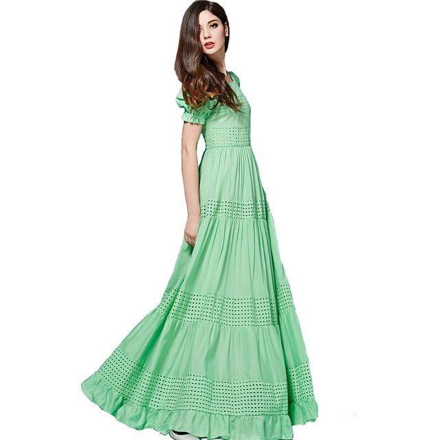 Bohemian Dress High Quality 2017 New Fashion Summer Long Dress Short Sleeve Hollow out Green /Blue Cotton Long Dress