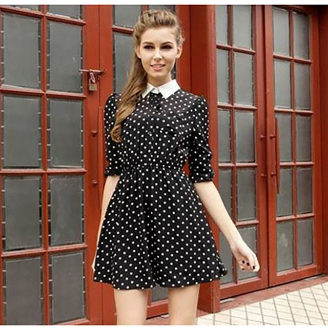 GZDL Vintage Women Casual Dress Ladies Female Long Sleeve Spring Autumn Polka Dot Print Tunic Preppy Party Vestidos CL1022