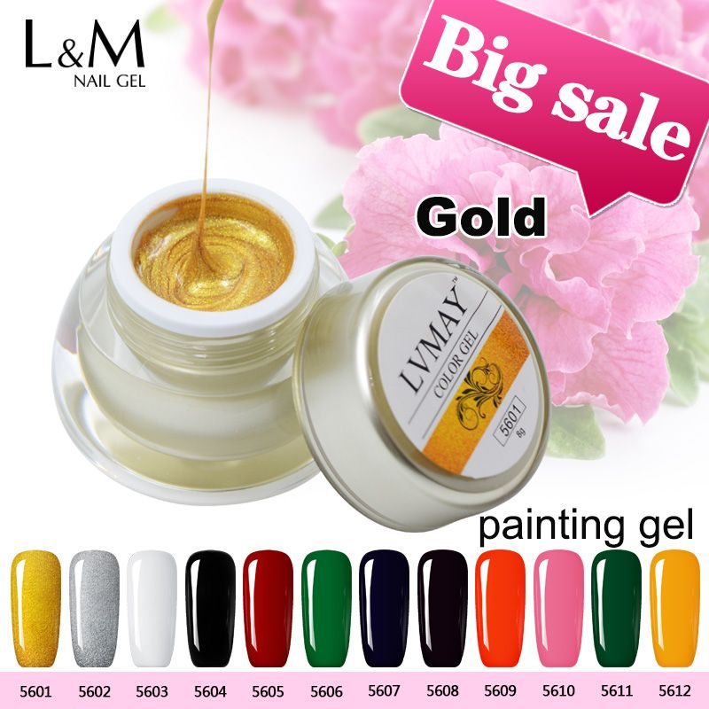 3 Jars Lvmay Brands UV Paint Curing Acrylic Paints Thick Gel Kit Nail Art Decorations Glitter Color Gold Sliver Black White Red