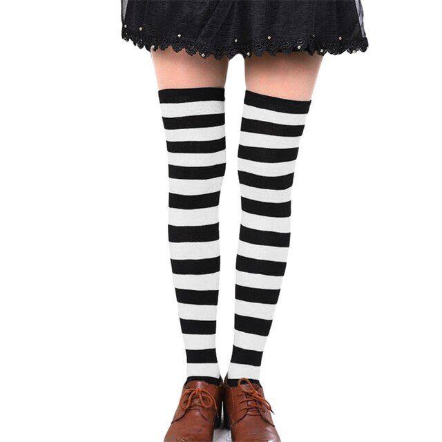 Hot New Sexy Women Girl Striped Cotton Thigh High Stocking Over the Knee Socks Fashion Stockings For Dating Cosplay Cheap F1