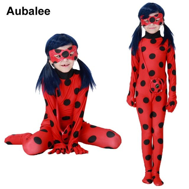 2018 Kids Miraculous Ladybug Cosplay Costumes With Mask Cute Girls Ladybug Miraculous Party Jumpsuit Halloween Children Costume