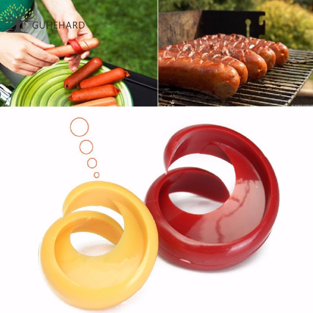 2 PCs Manual Fancy Sausage Cutter Spiral Barbecue Hot Dogs Cutter Slicer kitchen Cutting Auxiliary Gadget Fruit Vegetable Tools