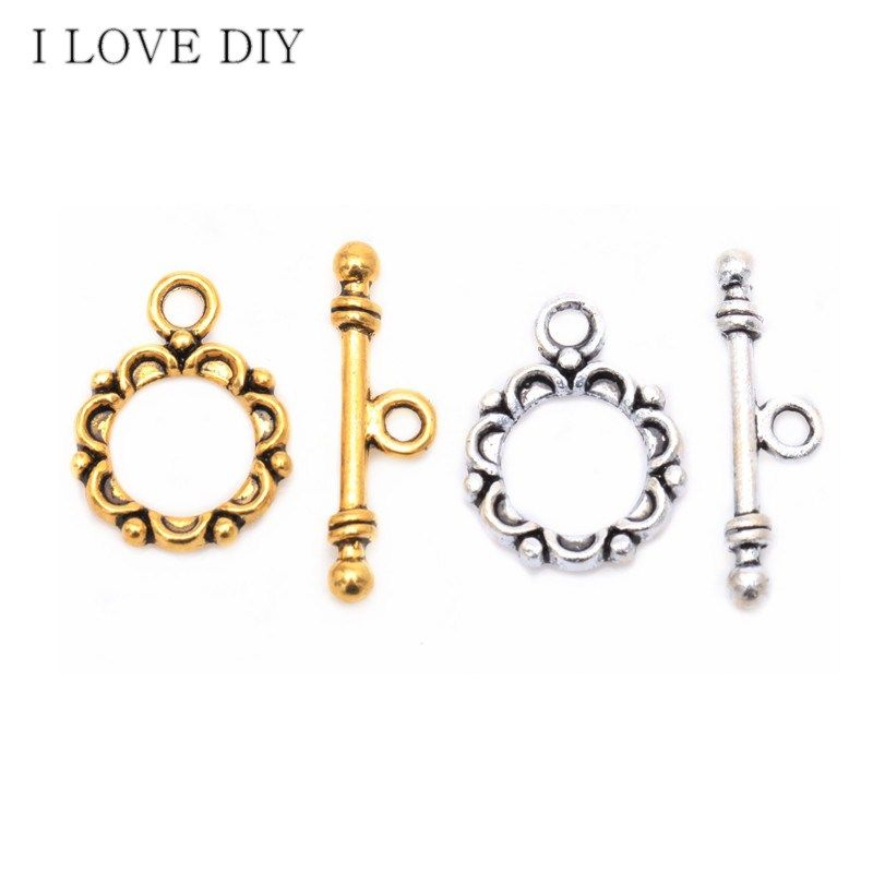 30 Sets Tibetan silver Lacework Circle Toggle Clasps Making Jewelry Findings for DIY Jewelry Making Bracelets