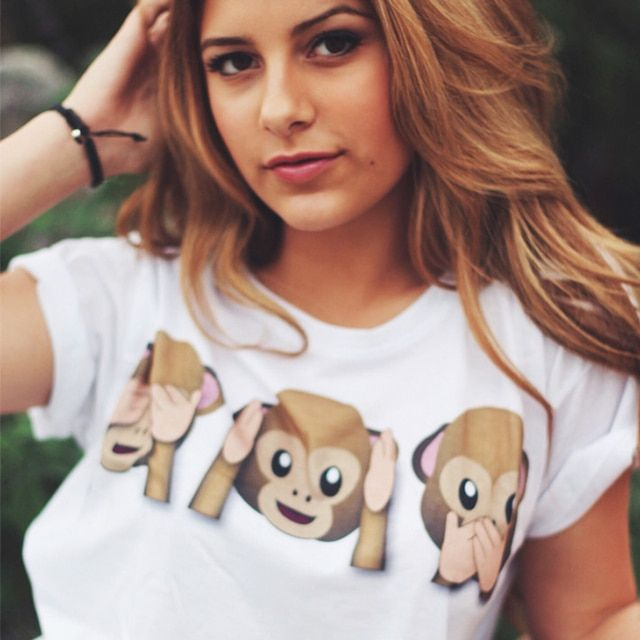 Plus Size XL Harajuku Emoji Three Monkey Printed T shirt Women Funny T-shirt White O-neck Tops Tees WMT63