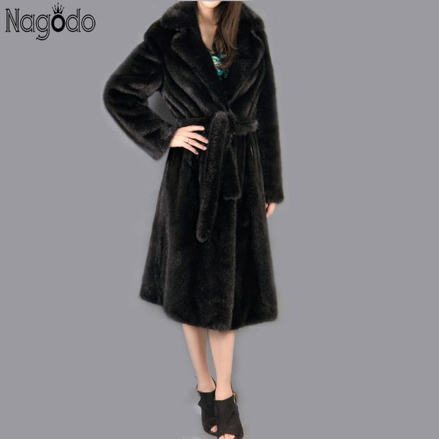 Winter Faux Fur Coats With A Belt 2018 New Plus Size 5xl Black Luxury Fake Mink Fur Warm Long Coats For Women