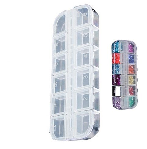 12 Detachable Clear Plastic Rhinestone Nail Art Tools Jewelry Display Storage Box Case Organizer Holder Beads E2s