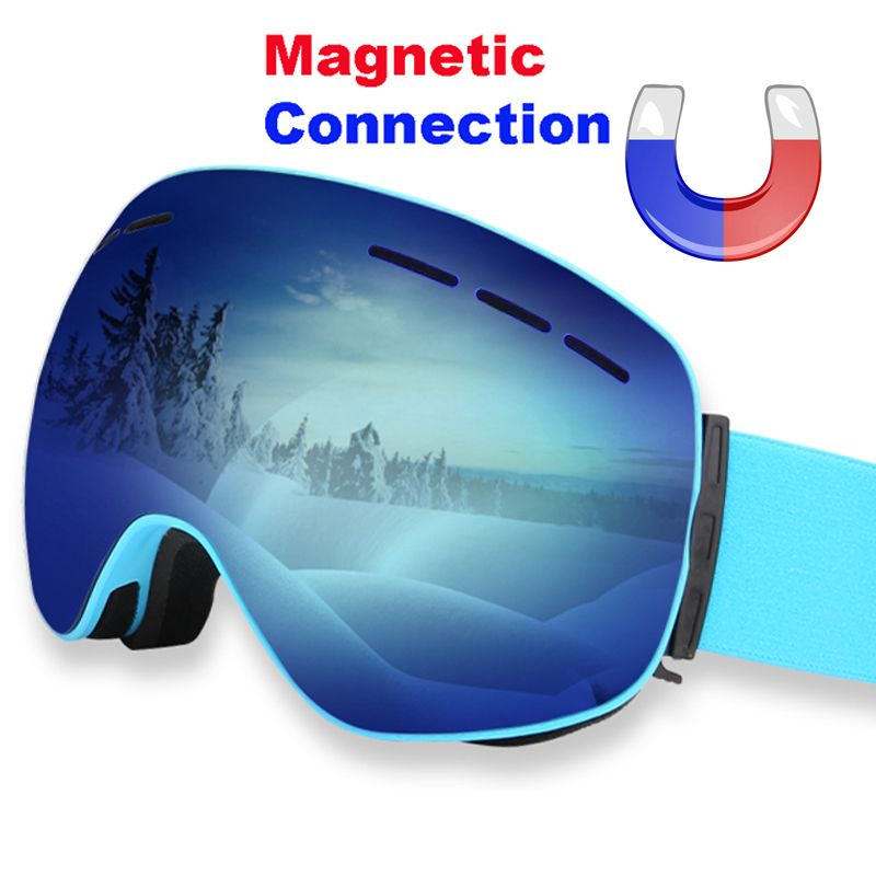 LOCLE Magnetic Ski Goggles Double Layers Anti-fog UV 400 Ski Glasses Men Women Skiing Snowboard Skateboard Snow Goggles Ski Mask