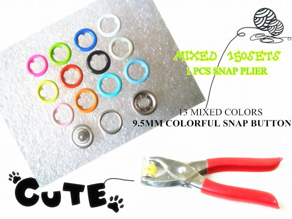 150Sets 9.5mm Mixed 13colors  Prong Snap Buttons Combined Fastener & One Pliers For Prong Snaps Buttons Mixed Kit