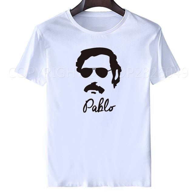 Short Sleeve Boyfriend Narcos Godfather Pablo Escobar Mens summer white tops T Shirt Screen Printed funny men summer white tops