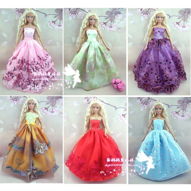 15items/lot =5dress+5 pair shoes+5 hangers princess Dress Gown dress For Barbie doll dress Girl Pretend Play Baby girl Toy Gift