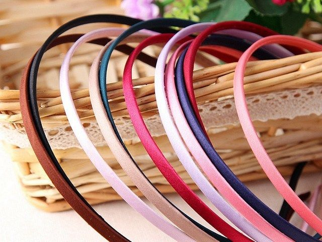 15 Mixed Color Metal Headband Covered Satin Hair Band 5mm for DIY Craft