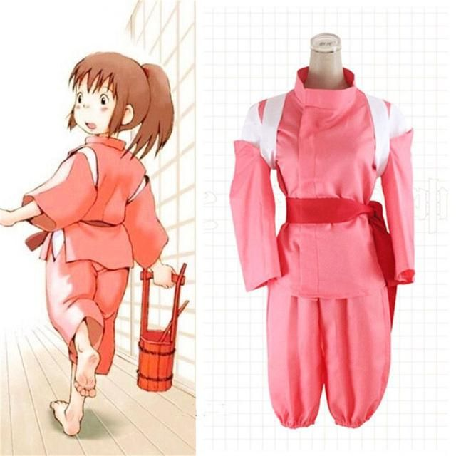 2016 New Women Cosplay Costume Spirited Away Cosplay Clothing Girls Ogino Chihiro Character Cosplay Clothes Top+Pant+Accessories