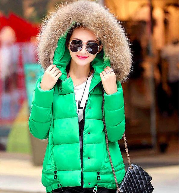 Jacket Coat Women Cotton Down Parkas With Luxury Large Fur Collar Hood Thick Coat Outwear 6Colors 2016 New Winter Plus M - 3XL