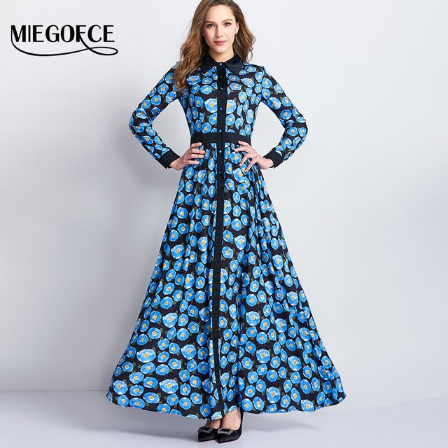MIEGOFCE New Arrival Woman's Dress Casual Long Sleeves Slim Printing Boho Beach Dresses Holiday Office Female Dress High Quality