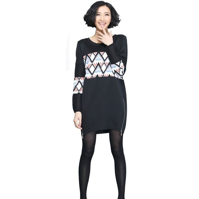 2016 Best Goods Women Large Size Package Loose Round Neck Thin Hip Long Sleeve Straight Long Sweater Spring