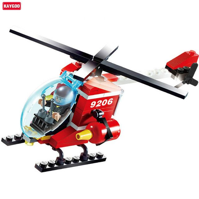 Kaygoo 91pcs Fire Helicopter Children Educational Assembled DIY Model Kids Toys Gift Building Blocks Brick Best Kids Xmas Gifts