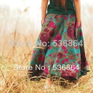 Summer style fashion women high quality cotton and linen skirt Retro Bohemian skirt  National  floral print skirt A-line skirt