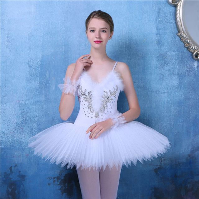 2017 Adulto Professional Ballet Costume White Ballet tutu Skirt With Straps 5 Layered Hard Organza Ballet Wear Women