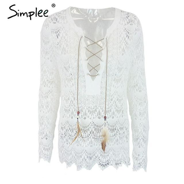 Simplee Apparel Summer elegant white lace blouse shirt Women tops long sleeve vintage girls blouse 2016 Sexy v neck renda blusas