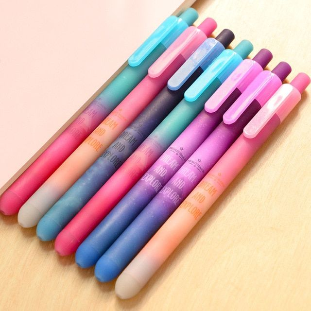 Cute Kawaii Star Plastic Gel Pen Creative Space Jelly Black Ink Pens Office School Supplies Korean Stationery Free Shipping 2409